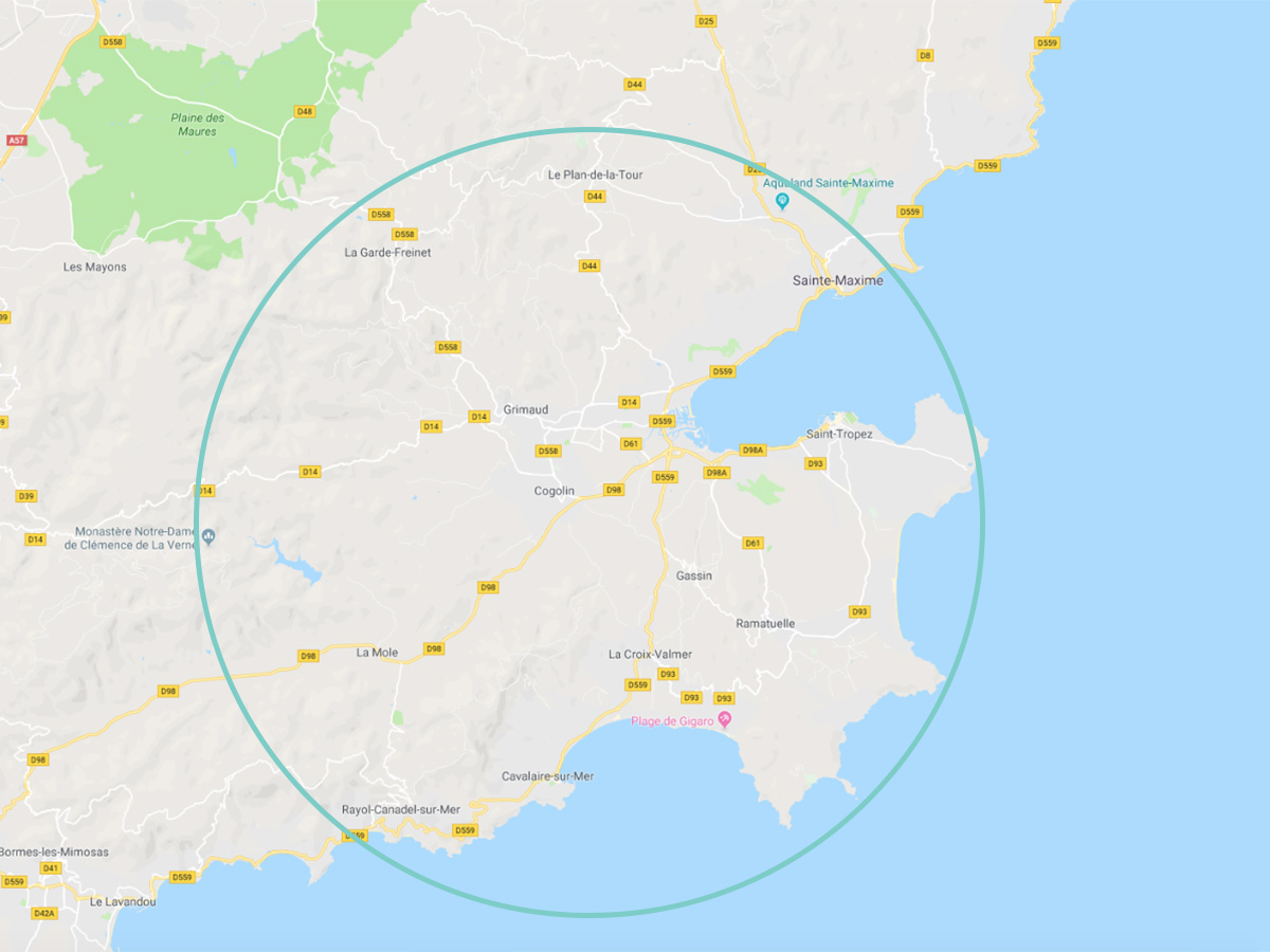 Carte du Golfe de Saint-Tropez dans le Var (83)